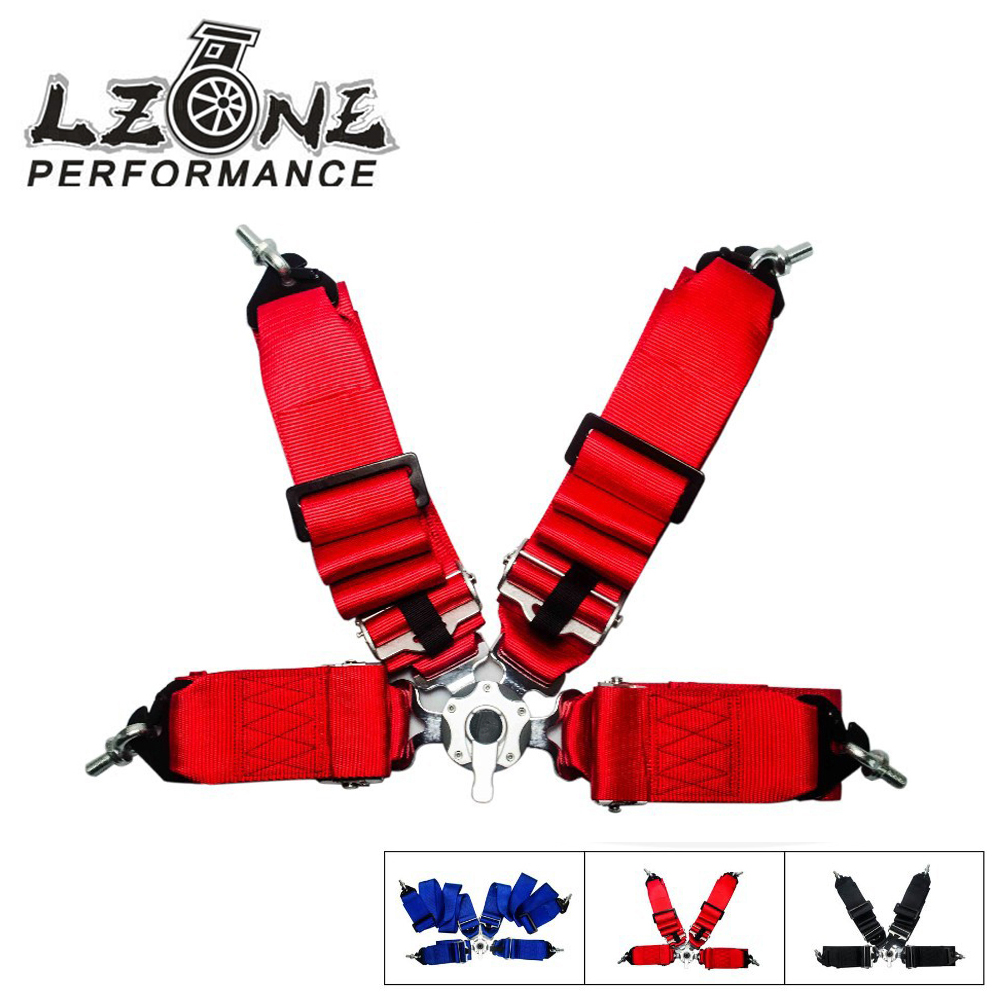 Lzone racing new spa style 4 point safety racing harness seat belt 3 inch cam