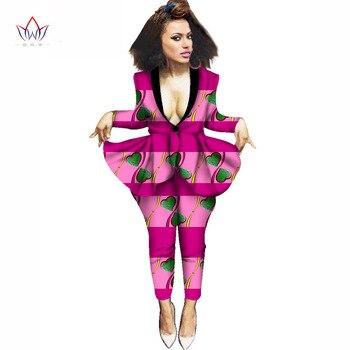 África estilo nuevo de moda 2 piezas de ropa mujer africana tradicional  Mujer Tops y pantalones largos Dashiki pantalones de las mujeres de BRW  WY628 6a2354a465f