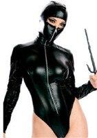 Catwomen Kostium Dla Dorosłych Sexy Exotic Lingerie Kobiet Pole Dance Ubrania Sexy Trykot Czarny Pvc catsuit Lateks Faux Leather Bielizna