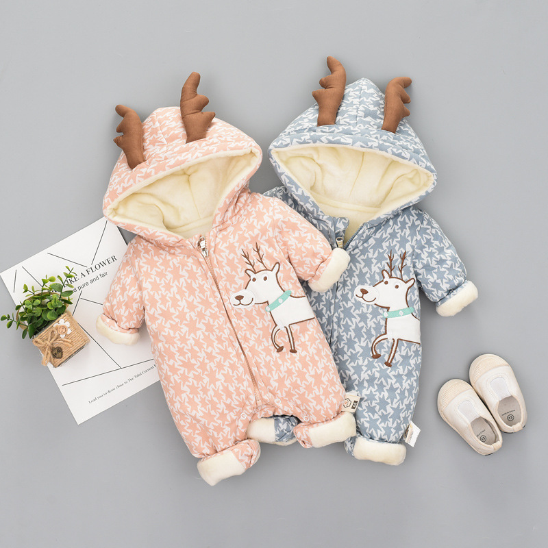 цена на High Quality Baby Rompers Winter Thick Cotton Boys Costume Girls Warm Clothes Kid Jumpsuit Children Outerwear Baby Wear