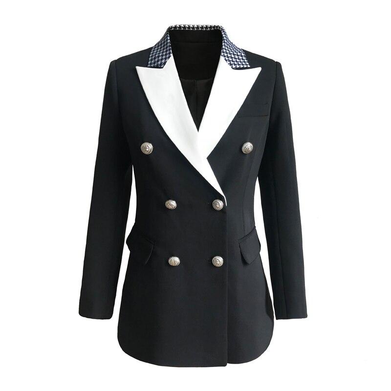 Plus Size XXXL Women Fashion OL Formal Blazer for Bussiness Lady Double Breasted Spring Runway Blazers