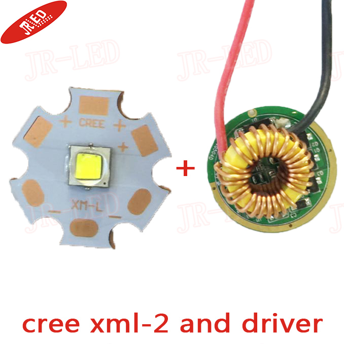 2 Sets XML2 <font><b>LED</b></font> XM-L2 T6 U2 <font><b>10W</b></font> White <font><b>LED</b></font> Emitter chip <font><b>20MM</b></font> Cooper PCB+Input 3.7V~15V <font><b>LED</b></font> <font><b>driver</b></font> freeshipping image