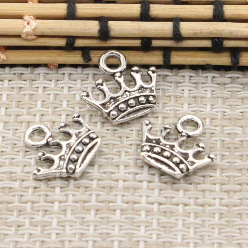 20 piezas colgantes de corona 13x14mm colgantes tibetanos de Color plateado joyas antiguas para manualidades hechas a mano DIY