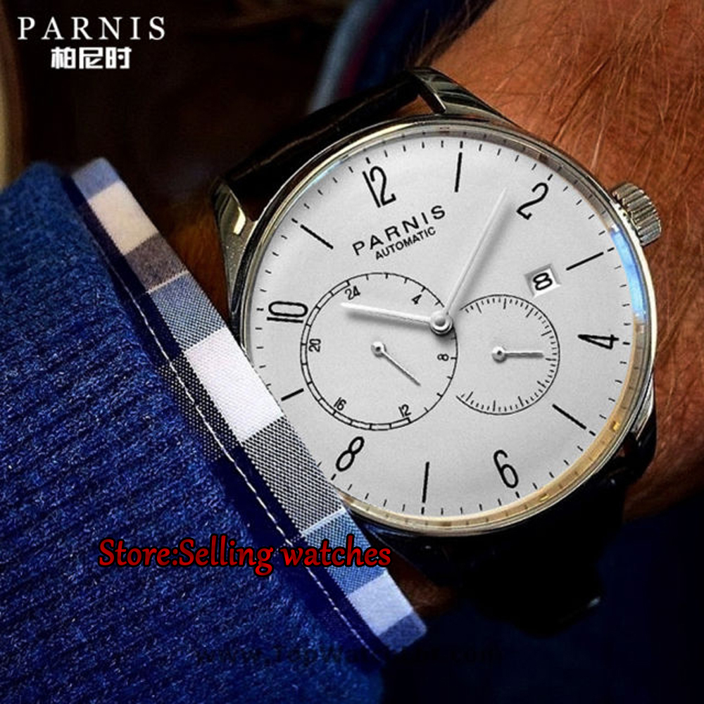 New Arrival 2017 Hot Parnis 42mm Automatic Watch Men Ultra Thin Mesh Steel Band Leather Strap Men Mechanical Watches все цены