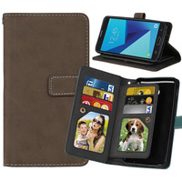 Luxury 9 Card Vintage Leather Photo Frame Wallet Phone Case For Samsung Galaxy J5 2017 Card