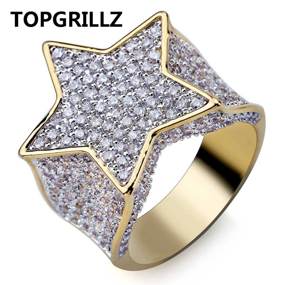 TOPGRILLZ Hip Hop New Custom Gold Color Plated Star Ring All Iced Out CZ Stone Rings Charm For Women Men Bling Party Jewelry topgrillz spikes rivet stud mens rivet charm bracelets 2018 iced out gold silver color bracelets for men hip hop punk jewelry