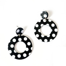 Free Shipping European American Styles Black And White Dots Resin Rectangle Teardrop Geometric Stud Earring