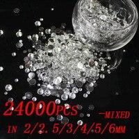 Free Shipping 24000pcs Crystal Color 2 2 5 3 4 5 6 Mm Resin Rhinestones Flatback