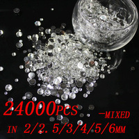 24000 unids Crystal Clear Color 2/2. 5/3/4/5/6/mm Resina DIY diamantes de imitación Flatback Diseño de Uñas Materiales de Arte de Uñas Encantos Decoraciones