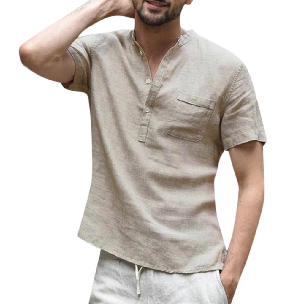 Hommes Solid Cotton Summer Linen Shirts v-cou Casual shirt loose à manches courtes Tops
