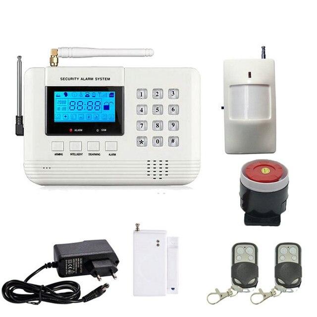ЖК-дисплей 433 мГц Беспроводная сигнализация SMS GSM PSTN Двойная сеть Домашняя безопасность PIR датчик движения двери открытый детектор дыма