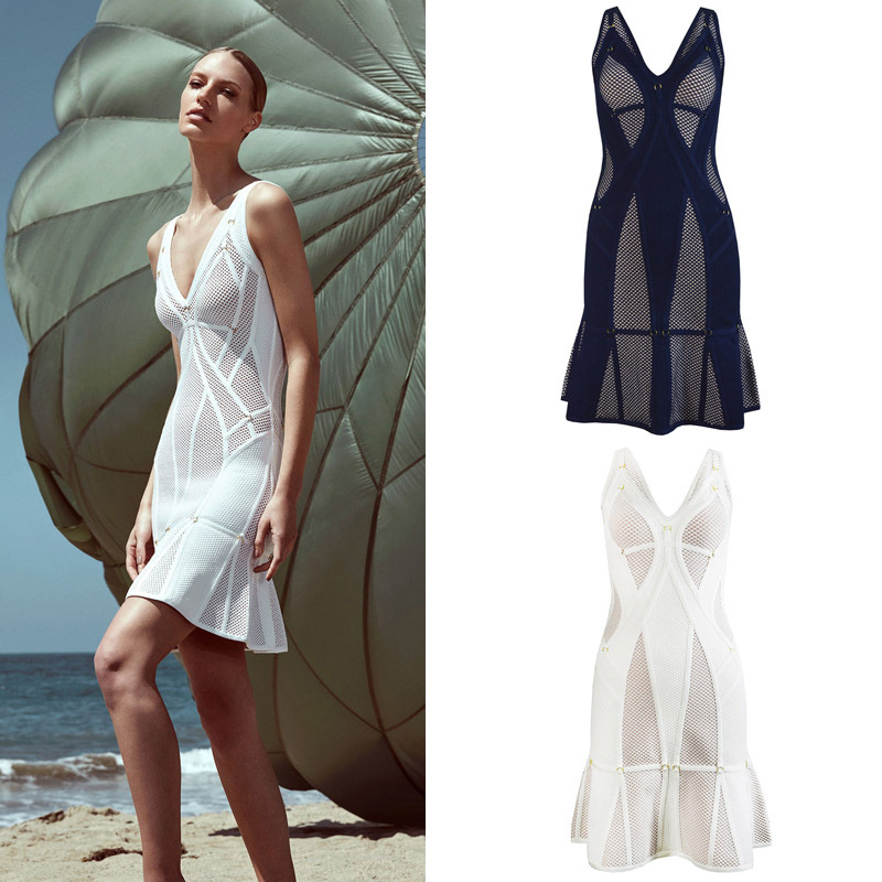 Bandage Bodysuits 2016 New Arrivals Deep V Neck Dress Bodycon Fluted Herm Dress White Blue Wholesale