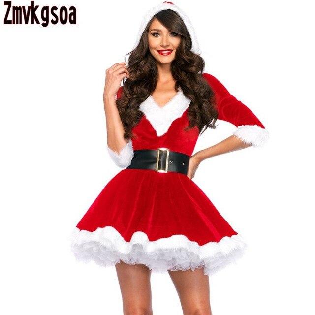 b07d777445 Zmvkgsoa Mulheres Santa Baby Cristal Veludo Vestido Do Feriado Do Natal  Sexy Trajes Do Natal Para