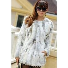 Зимняя длинная стильная зимняя куртка из натурального кроличьего