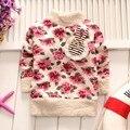 BibiCola nuevo llega muchachas libres del envío del otoño/ropa de invierno suéter de las muchachas de flor de los niños ropa de bebé suéter 1 unids/lote
