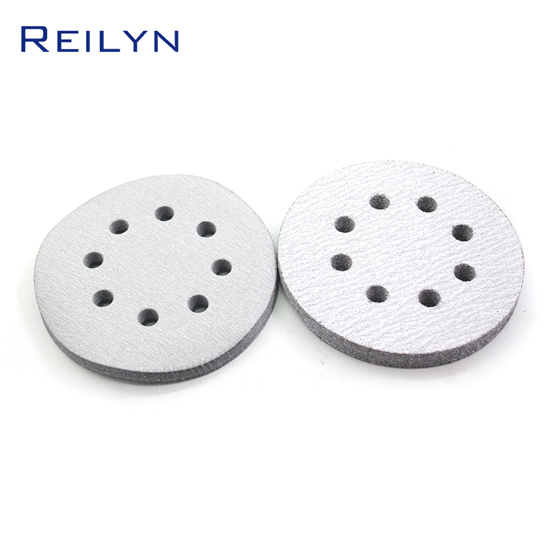 Abrasive Circular Sandpaper Tray Flocking White Paper Base 5 Inch With Holes Pneumatic Sandpaper Machine Furniture Metal Ship