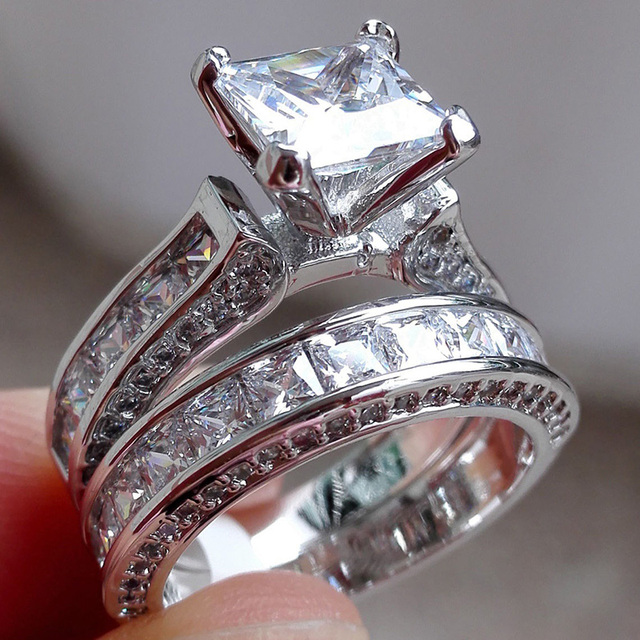 2018 Female White Round Ring Set Luxury 925 Silver Ring Vintage Wedding Band Pro