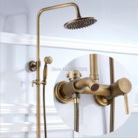 Free Shipping Newly Gift Durable Brass Waterfall Shower Set Bathroom Antique Finish Faucet With Rainfall Shower