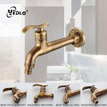 цена на Antique Brass Basin Faucet Washing Machine Laundry Bathroom Kitchen Wall Mount Sink Basin Spigot Mop Pool Single Cold Water Tap