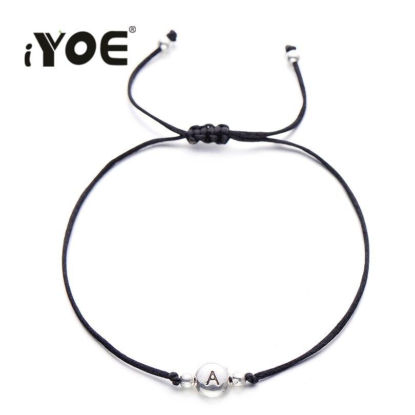 IYOE черный браслет ручной работы с надписью, черный браслет-веревочка с буквами «удача» алфавит для мужчин и женщин, Парные браслеты, Детская...