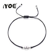 Iyoe pulseira de corda preta artesanal, de fio preto, sorte, alphabet, mulheres, homens, conjunto de pulseiras, amizade, crianças, joias