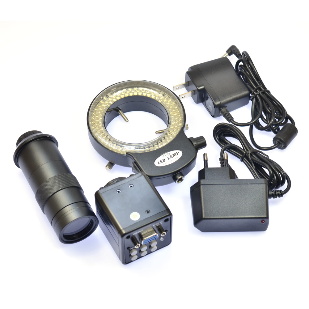HD VGA 2 0MP Digital Industrial Microscope Camera 100X Zoom C mount Lens 144 LED Adjustable