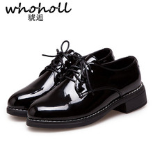 цены WHOHOLL British Style Oxford Leather Shoes Women Square Heel Flat Platform Shoes Woman Lace-up Oxford Shoes for Women
