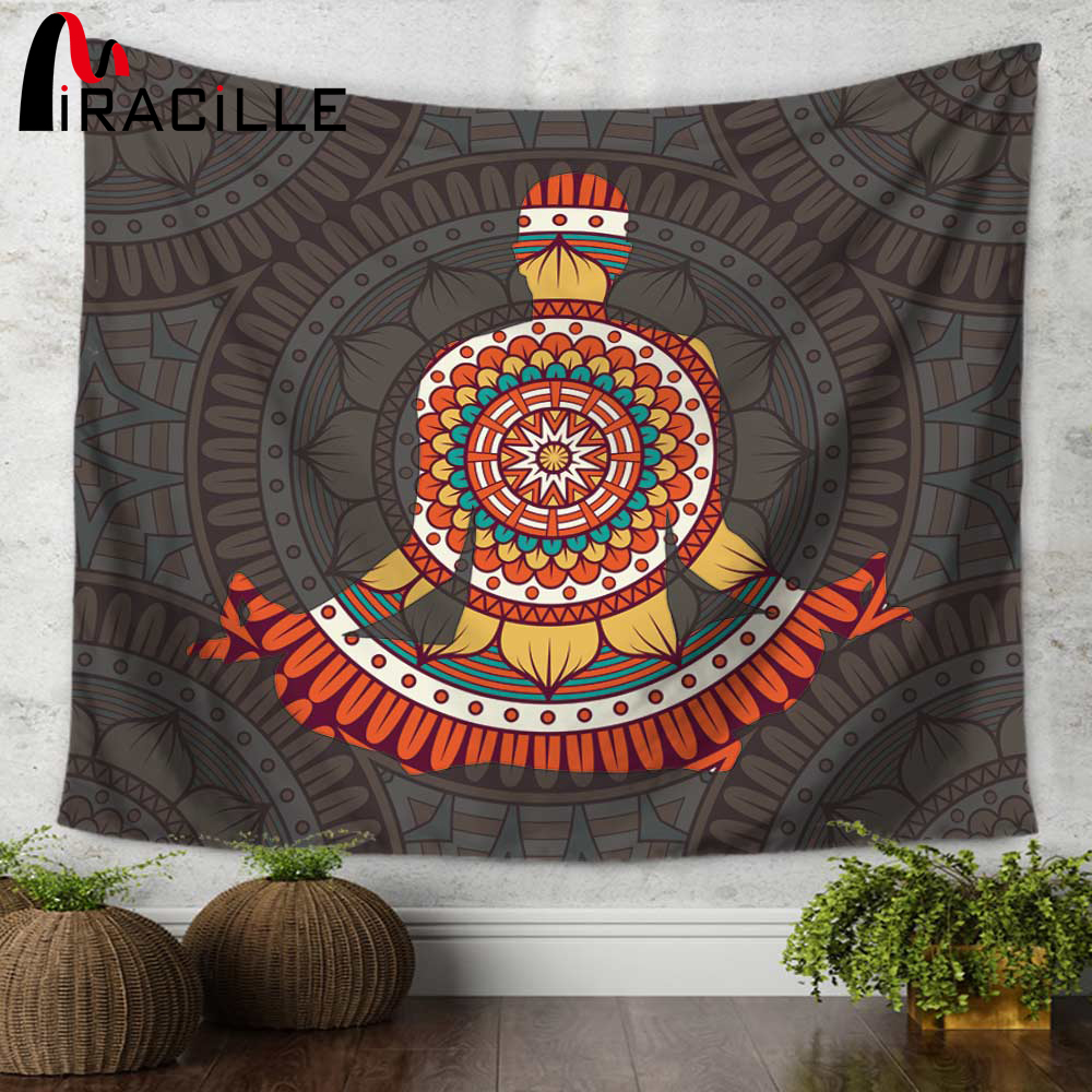 Miracille Indian Mandala Background Animals Pattern Wall Hanging Tapestry Yoga Mat Home Decorative Tapestries Sofa Chair Covers