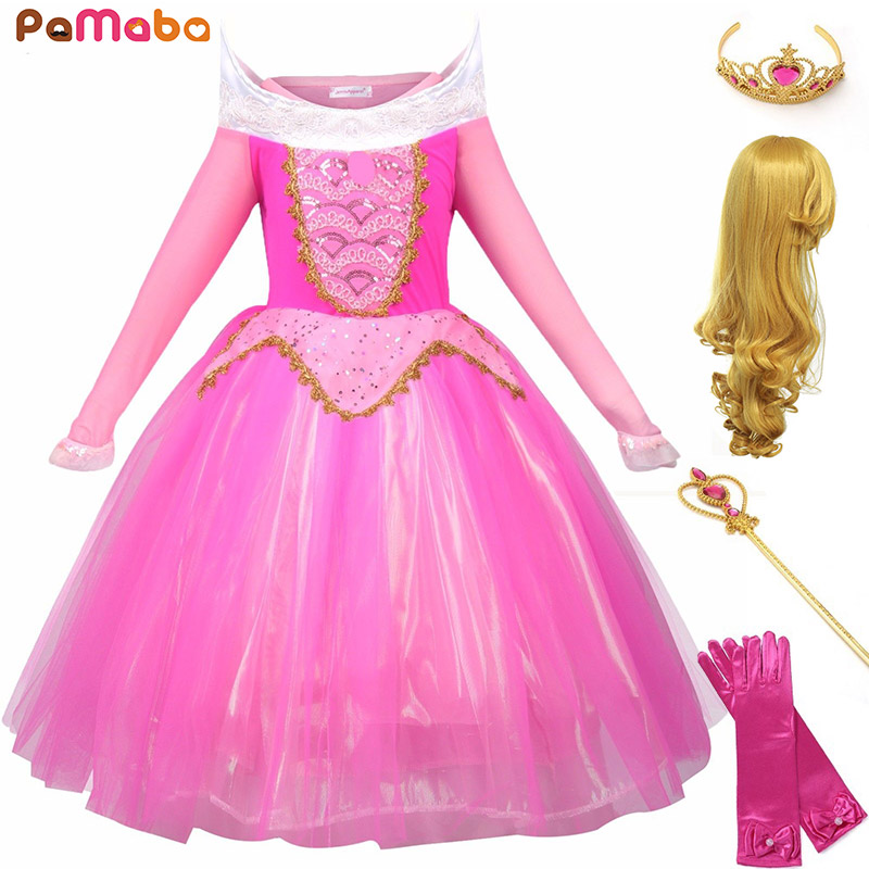 PaMaBa Kids Carnival Princess Aurora Dress Girls The Sleeping Beauty  Halloween Fantasy Cosplay Costume Long Sleeve dc4646dba624