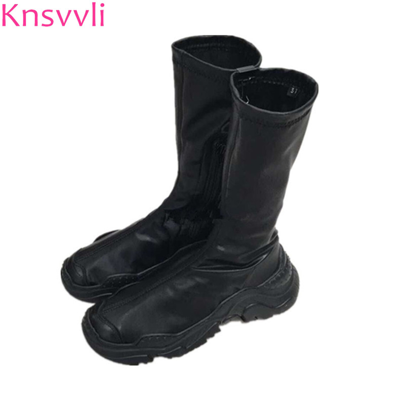 Knsvvli New Autumn Black Casual Short Boots Woman Round Toe Thick Sole Slimming Stretch Boots Fashion Comfort Sneakers Ladies-in Mid-Calf Boots from Shoes    1