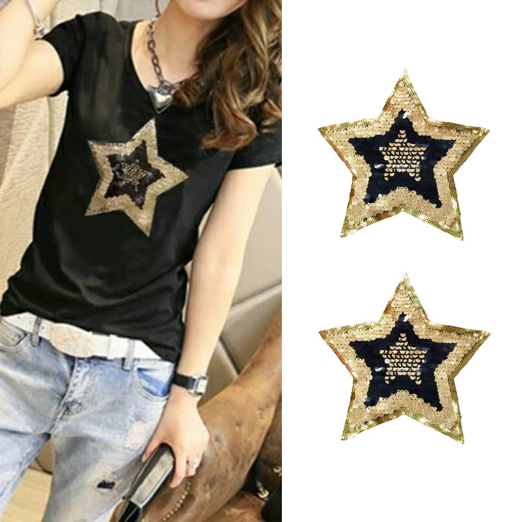 Clothing Accessories New Fashion Five-pointed Star Sequin Mesh Embroidered Beads Diy Cloth Explosions Trend