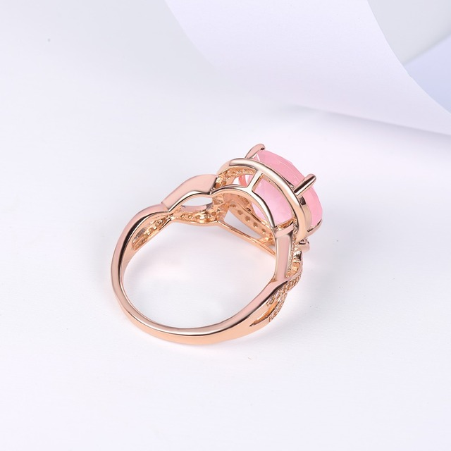 Rose Quartz Engagement Silver Gold Plated Ring 2