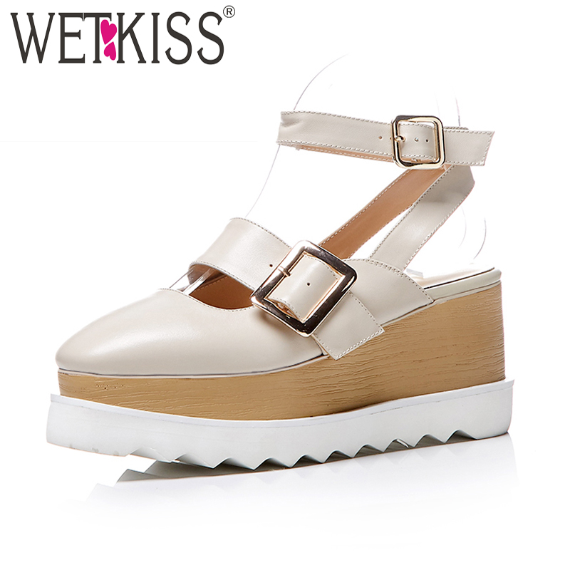 WETKISS Summer Women Sandals Wedges Platform Genuine Leather Footwear 2018 New Fashion Casual High Heels Girl Ankle Strap Shoes woman fashion high heels sandals women genuine leather buckle summer shoes brand new wedges casual platform sandal gold silver
