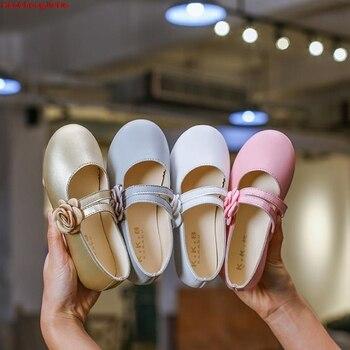 לבן ורוד ילדים פעוט פרח ילדי בנות מסיבת חתונת שמלת נסיכת עור נעלי עבור בני נוער בנות נעלי ריקוד חדש