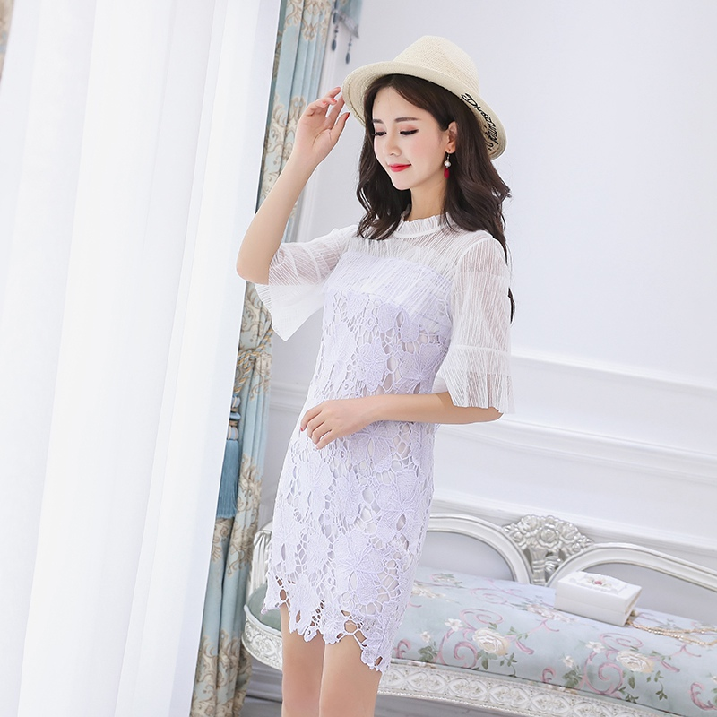 2019 Summer New Korean Breastfeeding Dress Invisible Zipper Court Lace Fashion Out Of The Feeding