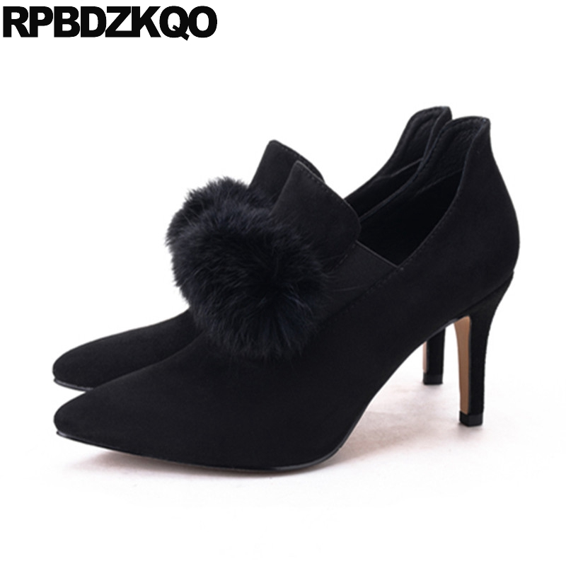 Designer 2017 Pointed Toe Stiletto Real Fur Booties Autumn 12 44 Shoes Women Luxury Ankle Black Pom Poms Suede Boots Slip On yanicuding round toe women flock ankle booties metal short boots zip design luxury brand fashion runway star autumn shoes flats