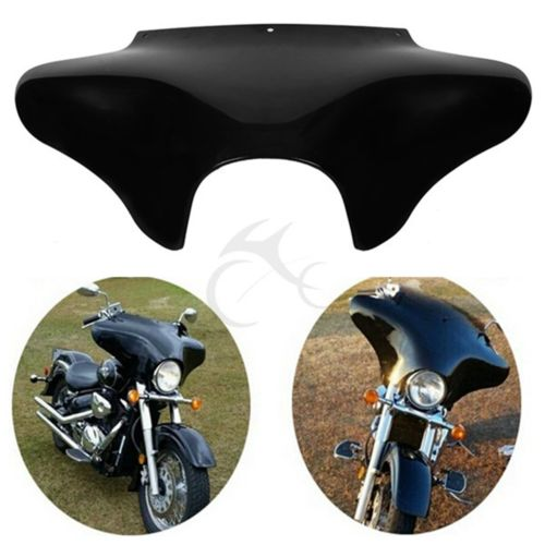 Vivid Black Front Outer Batwing Fairing For Harley Softail Road King Dyna FLHT FLHX Yamaha V Star 650 1100 classic vivid black front outer batwing fairing for harley softail road king dyna flht flhx yamaha v star 650 1100 classic shadow vt1100