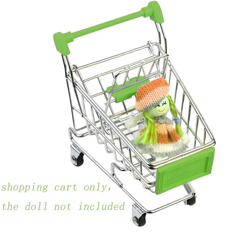 Mini Simulasi Supermarket Shopping Cart Trolley Mainan Keranjang Lipat Gerobak Roda Rumah Penyimpanan Anak-anak Burung Beo Mainan
