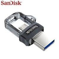 원래 SanDisk 듀얼 OTG usb 플래시 드라이브 DD3 130 메가바이트/초 16 기가 바이트 32 기가 바이트 64 기가 바이트 128 기가 바이트 USB 3.0 펜 드라이브 안 드 로이드 전화/컴퓨터 pendrive