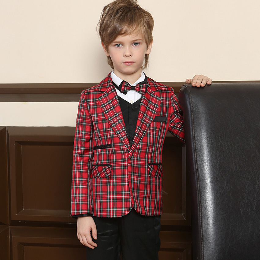 ФОТО Boys Red Blazers for Wedding England Style Cotton Single Breasted Kids Blazer Children Plaid Casual Outwear Clothes Blazer EB090