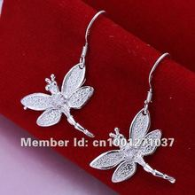 2017 Brincos Shipping,wholesale Dragonfly 925 Sterling Silver Earrings,fashion Classic Women Jewelry Nickle Free E009