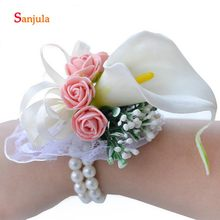 Calla Lily Flower Wrist Corsage Elegant Handmade Pink Rose Flowers Wedding Guest Bracelet Pearls Wedding Accessories WS6(China)