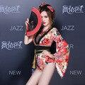 2015 nueva moda rojo impresión de la barra para mujer Ds traje dj cantante discoteca fiesta dancer etapa desgaste rendimiento mujeres body