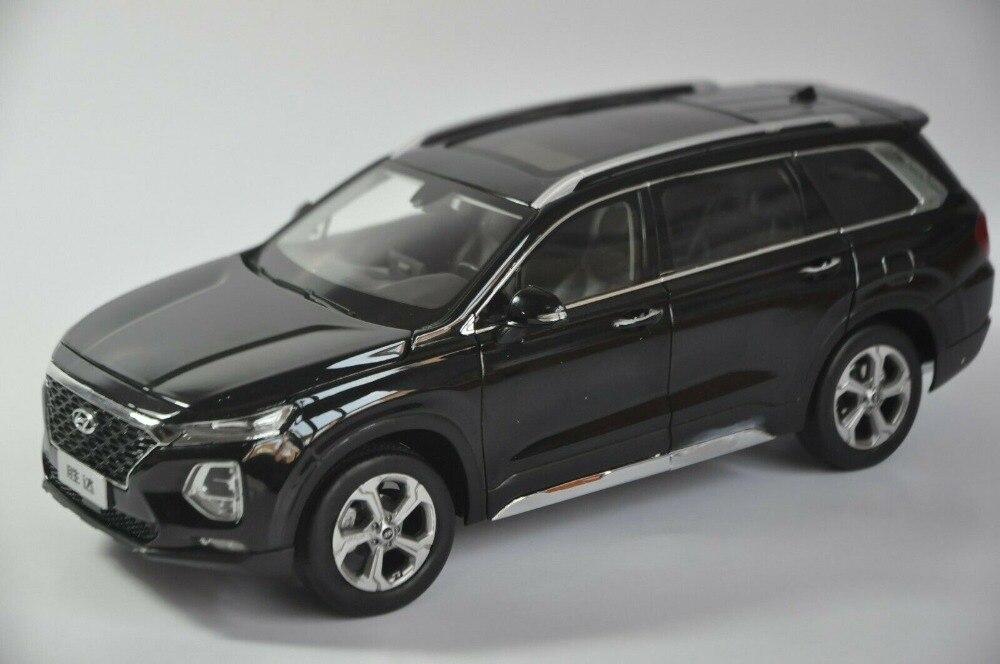 1:18 modelo fundido para Hyundai SantaFe 2019 negro 4ª generación grande SUV aleación juguete colección de coches en miniatura regalos Cubo de basura para coche, cubo de basura de coche, Papelera para el hogar, papelera, cesta para el coche, accesorios para el coche, accesorios para el coche