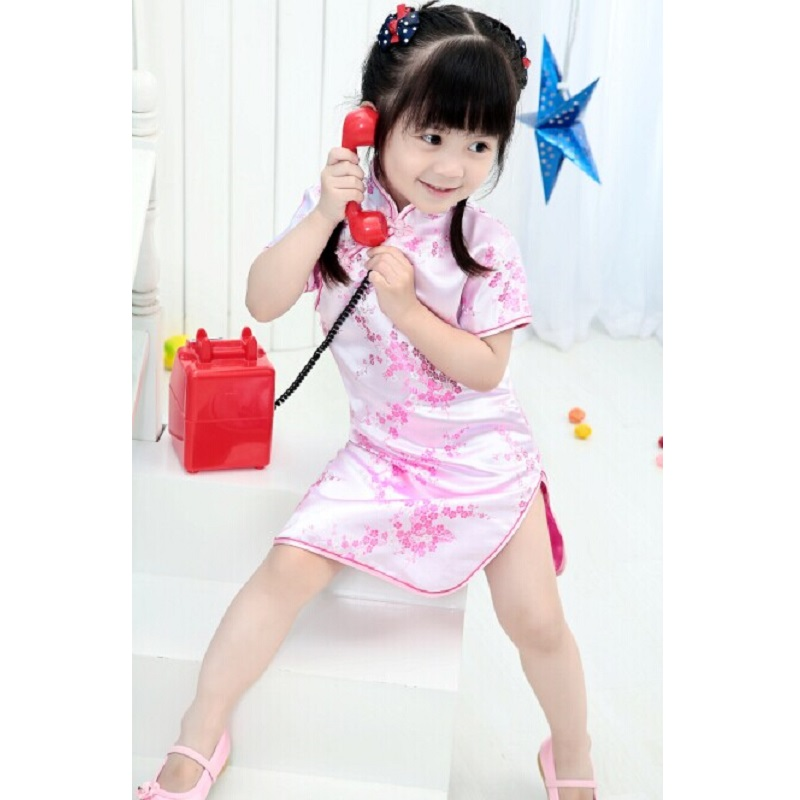 Chinese New Year Style chi-pao qipao cheongsam gift Clothes Pink Lowest Price girl dress free shipping new red hot chinese style costume baby kid child girl cheongsam dress qipao ball gown princess girl veil dress