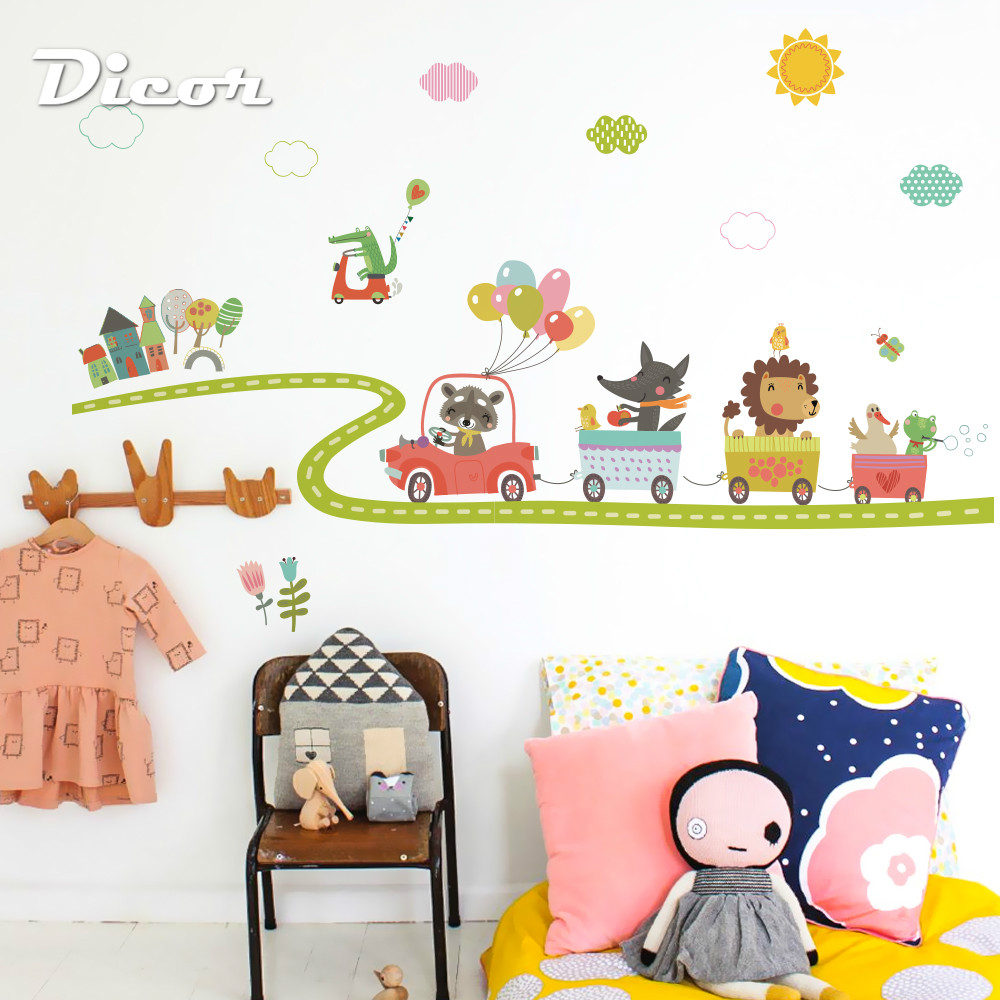 DICOR Happy Animals Series Wall Sticker Animals Cartoon PVC Diy Papersticker For Kid Rooms Decor Nursery Children QT916 in Wall Stickers from Home Garden