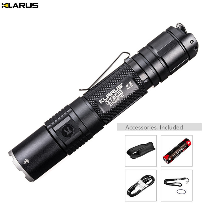 New Flashlight KLARUS XT2CR CREE XHP35 HD E4 LED max. 1600LM beam distance 240M tactical torch +18GT-36 3600mAh battery + cable new klarus xt11gt cree xhp35 hi d4 led 2000 lm 4 mode tactical led flashlight free usb port and 18650 battey for self defence