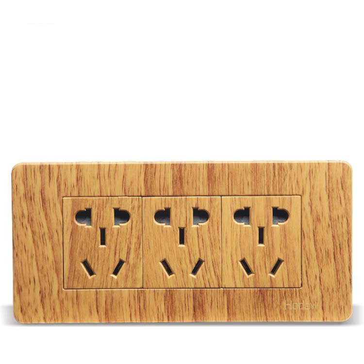 Luxury Yellow Wood Pattern 118 Wall Switch 15 Hole Socket AC 110 250V in Electrical Sockets from Home Improvement