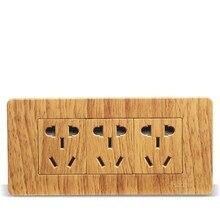 Luxury Yellow Wood Pattern 118 Wall Switch,  15 Hole Socket, AC 110 ~ 250V