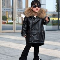 Winter new children leather down jacket 100% real leather fur coats kids sheepskin down coat,big girl leather windbreaker AL1623